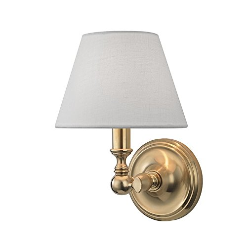 Sidney 1-Light Wall Sconce - Aged Brass Finish with White Linen Shade