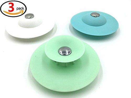 Drain Stopper and Hair Catcher of 3 Colors and Strainer for Floor, Laundry, Kitchen and Bathroom,2 in 1 Stop & Filters - 3pcs by Extra-Perseverance