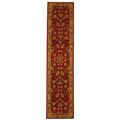 Safavieh Anatolia Collection AN526A Handmade Traditional Oriental Burgundy and Gold Wool Runner (2'3