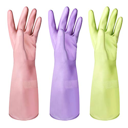 E-Gtong Rubber Cleaning Gloves Kitchen Reusable Dishwashing Gloves 3-PAIRS, 100% Odrless Household Gloves, Heat Resistant, Non-slip Grip, Soft Cotton Flock Lining, 15 inches Long - Medium, 3 Colors
