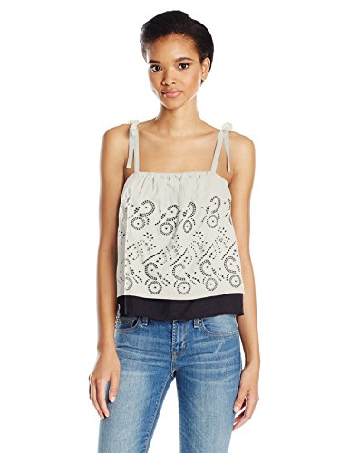 Lucky Brand Women's Eyelet Tank Top, Marshmallow, Small