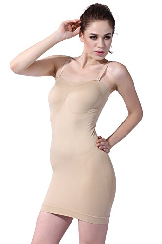 f72f4a066 Franato Women s Seamless Body Shaper Slimming Tube Dress Shapewear Slips  Large Beige