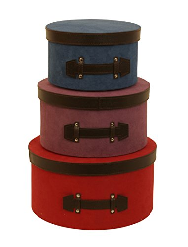 Wald Imports Blue, Purple & Red Paper Board & Fabric Decorative Round Storage Boxes, Set of 3