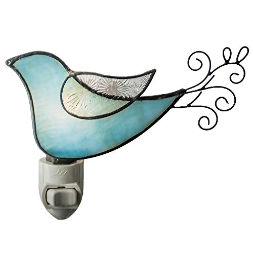 J Devlin NTL 188 Bird Night Light Aqua Blue Green Stained Glass Decorative Wall Accent Lite (Art Glass Night Light)