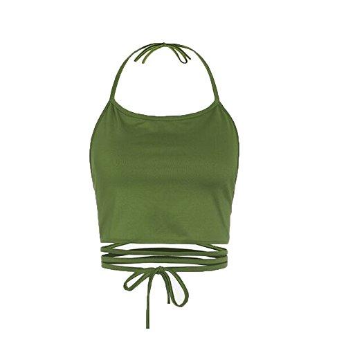 Sexy Crop Top Bustier, Women Sleeveless Backless Vest Halter Tank Tops Blouse T-Shirt (Green, Free Size)