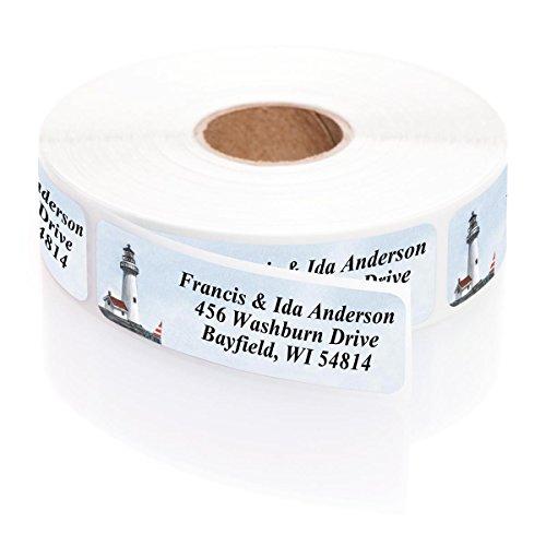 Holiday Stripes Address Label (Lighthouse Designer Rolled Name & Address Labels with Elegant Plastic Dispenser)
