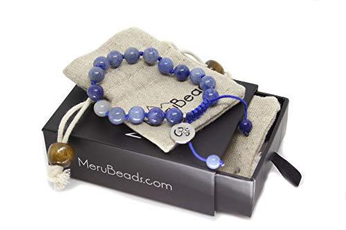 (Adjustable Mala Bracelet for Women - Blue Aventurine Bracelet - Premium Mala Beads Bracelet - Blue Bracelet for Woman - Blue Gemstone Bracelet)