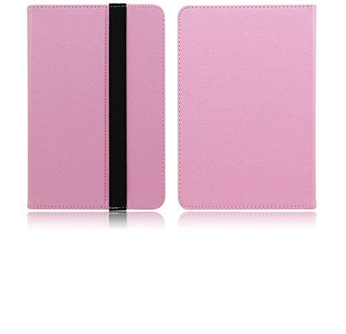 FanTEK Universal 8 Inch Hook & Loop Folio Velcro PU Leather Stand Case Cover for Dragon Touch Nabi BLU HiSense Gigaset Le Pan Nextbook VIZIO VV Insignia Visual Land Chromo Inc Polaroid Coby (Pink) (Cover For Gigaset Tablet)