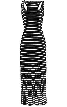KMystic Long Maxi Solid Racerback Dress (Large, Black/White)