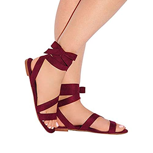 e5aae90fd6ab Huiyuzhi Womens Strappy Lace-up Sandals Criss Cross Wrap Gladiator Flat  Sandal cheap