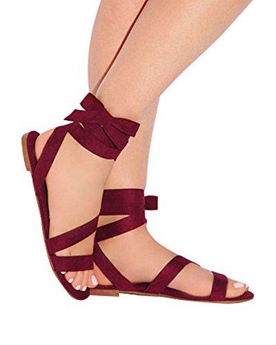 Huiyuzhi Womens Strappy Lace-up Sandals Criss Cross Wrap Gladiator Flat - Sandal Tie Flat Ankle