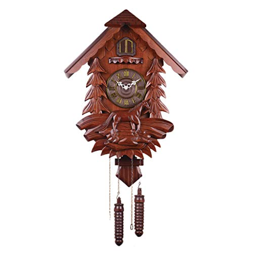 PEI XIA Cuckoo Wall Clock Pendulum Clock Quartz Clock,Horse Galloping,Tree Jungle