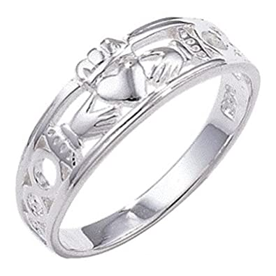 Clásico Anillo Claddagh Celta - 925 plata esterlina ...