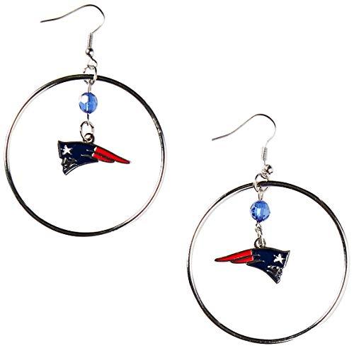 Hoop Nfl Earrings - NFL New England Patriots Color Bead Hoop Earrings