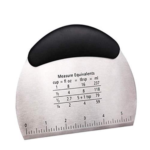 Stainless Steel Dough Scraper, Pastry Pizza Cutter Chopper,Flexible Silicone Bowl Scraper,Good Grips Multipurpose Scraper with Measuring Scale and Conversion (Black)