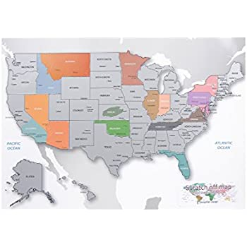 Personalized Scratch Off Coloring Us Map The United States Of America A4 Size