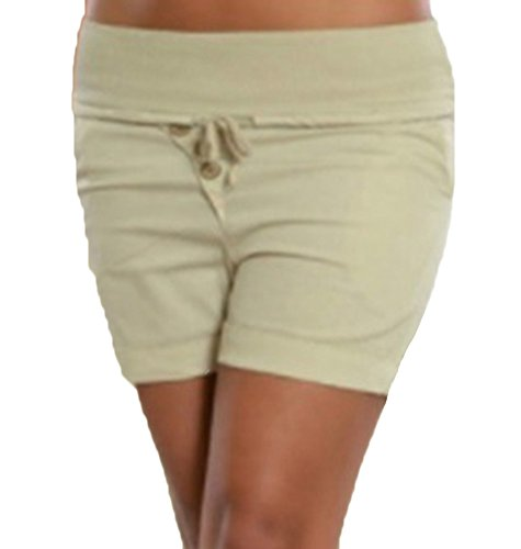 Corti Casuali Runyue Elastic Donna Bermuda Pantaloni Con Beige Estivi Cintura Pantaloncini Chino Shorts qW58BFxZw5