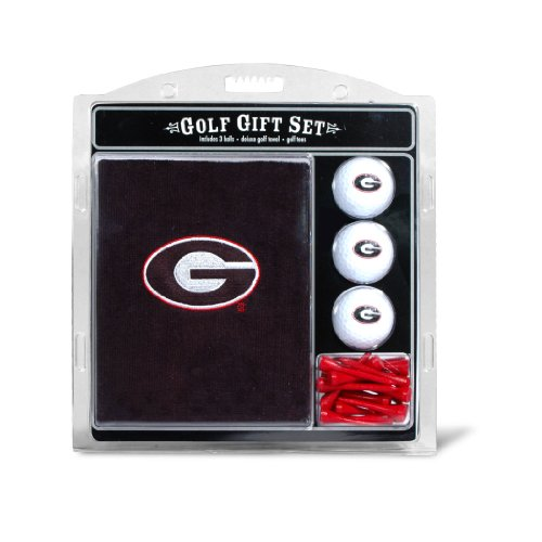 Team Golf NCAA Georgia Bulldogs Gift Set Embroidered Golf Towel, 3 Golf Balls, and 14 Golf Tees 2-3/4