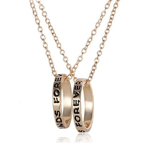 Fusicase Best Friends Forever Two Part Necklace, Engraved Ring Pendant Charm Necklace(Gold)