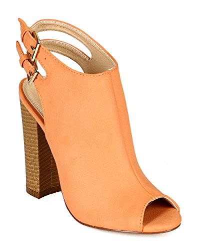 Liliana CB74 Women Leatherette Peep Toe Slingback Chunky Mule Ankle Bootie - Coral