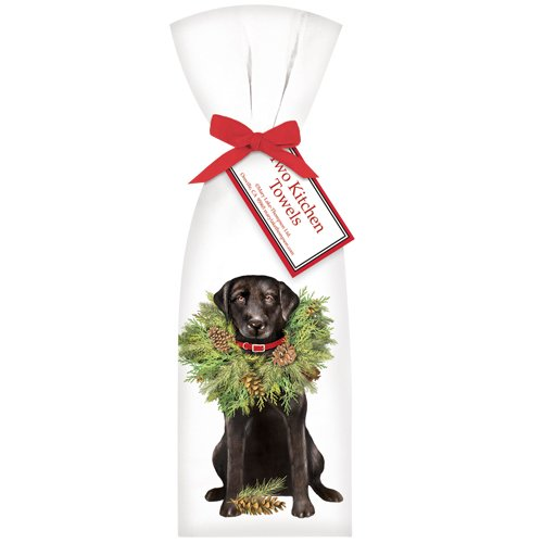 Black-Dog-with-Wreath-Towel-Set