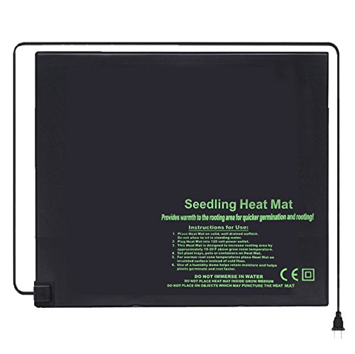 """BloomGrow 20""""x10"""" 20""""x20"""" 48""""x20"""" Seed Starter Pad Germination Propagation Clone Seedling Heat Mat (20""""x20"""") by BloomGrow (Image #1)"""