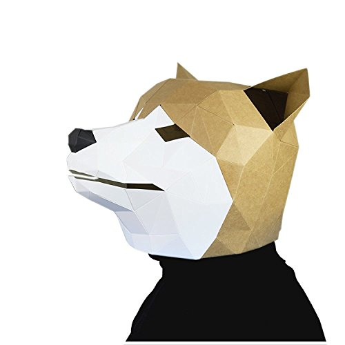 3D Paper Mask Animal Head Molds DIY Halloween Party Costume Cosplay Facial Paper-Craft Kit (Husky) for $<!--$19.70-->