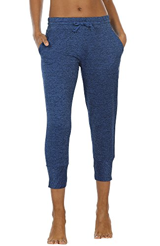 icyzone Women's Active Joggers Sweatpants - Athletic Yoga Lounge Capris with Pockets(M, Royal Blue)