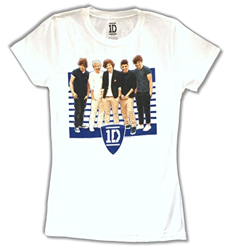 One Direction Ivy League Stripes Pic Girls Juniors White T Shirt (S)