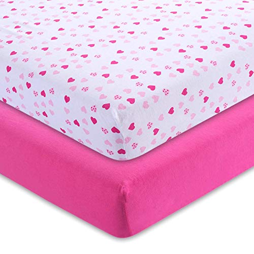 Fitted Crib Sheets Hearts 52x28x9