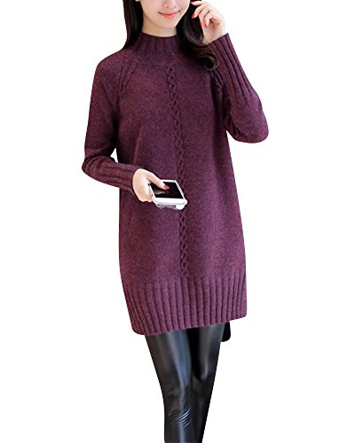 Manches Casual Femme Shirt Pull Blouse En Jerseys Longues Loose Robe Violet Sweater Col Haut Tops Tricots Sweat ttqC0