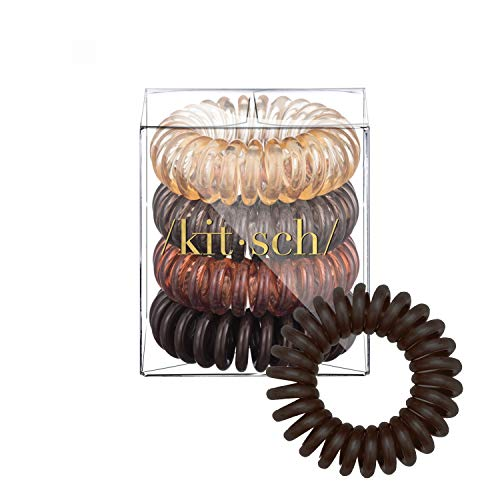 Kitsch Spiral Hair Ties, Coil Hair Ties, Phone Cord Hair Ties, Hair Coils - 4 Pcs, Brunette (Best Hair Ties For Thin Hair)