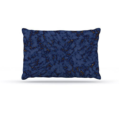 Kess InHouse Will Wild bluee & gold Marble  Abstract Fleece Dog Bed, 50 by 60 , Navy