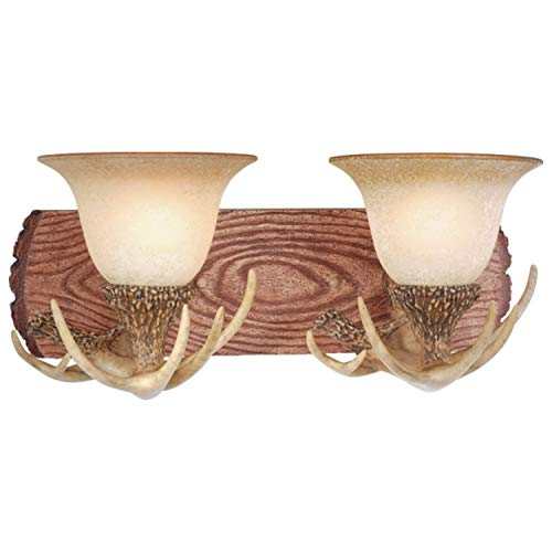 Lodge 2 Light Wood Rustic Antler Bathroom Vanity Fixture - 18-in W X 7.75-in H 10.75-in D Cream Resin Steel White Dimmable Includes Hardware
