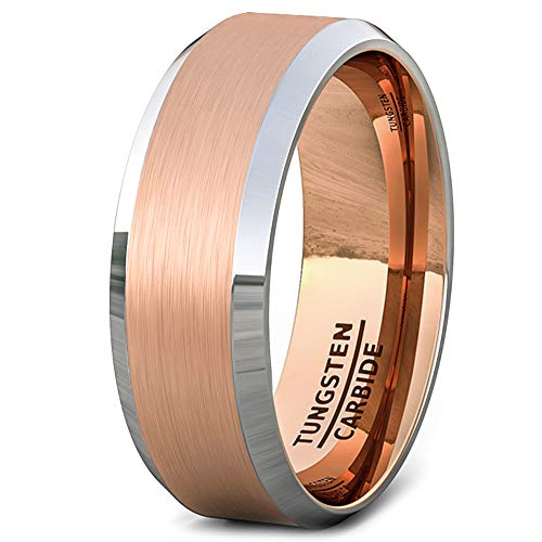 Duke Collections 8mm Brushed Rose Gold Surface with White Beveled Edge Comfort Fit (11) (White Gold Lord Of The Rings Wedding Band)