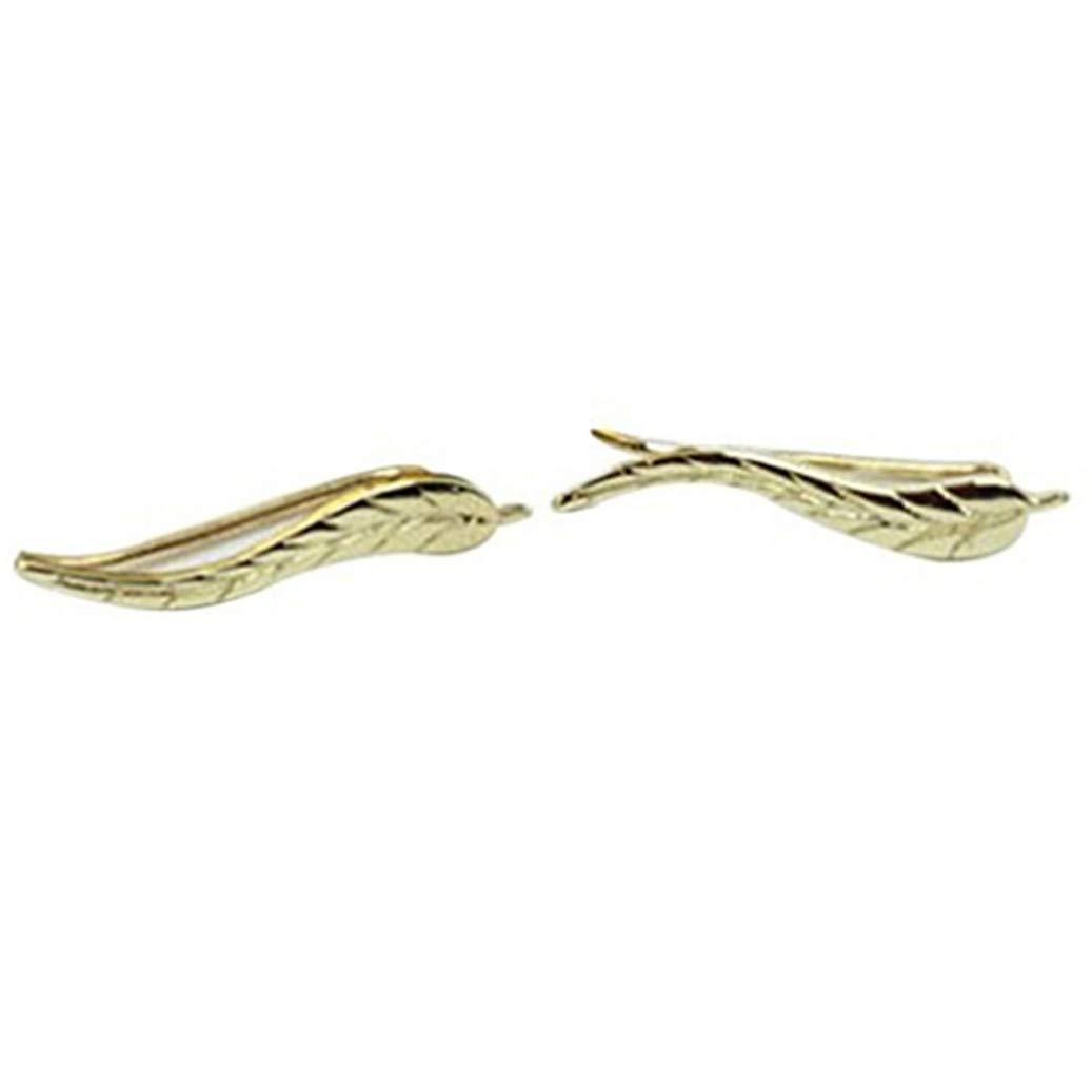 GOMYIE 1Pair Women Metal Leaf Earrings Ear Clip Ear Studs(gold color)