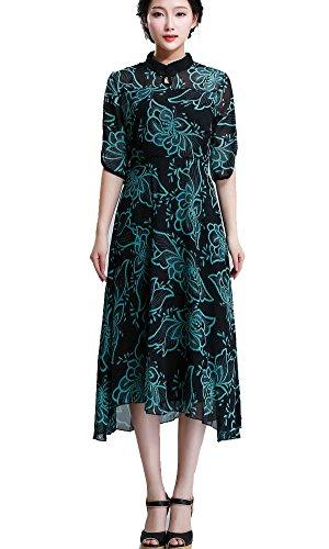 Kufv Women's Half Sleeve Vintage Chiffon Prints Maxi Dress (L)