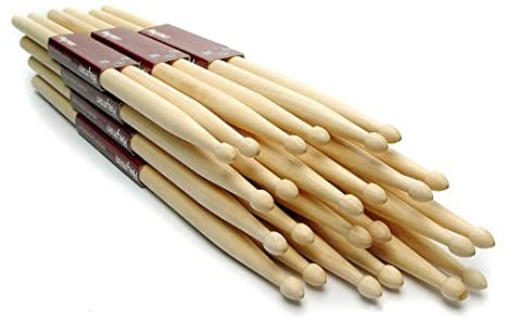 Hickory Drumstick Set - 12 Pairs of Wooden Tip Drumsticks (2A, 5A, 5B, 7A) (2B) 1to1music 8V-62O0-ILMH