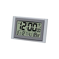 Large Atomic Clock Self-setting Self-adjusting Time Display with Jumbo LCD Display Time & Indoor Temperature, Wall Deskside Alarm Clock HM26