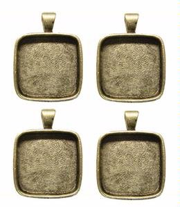 1inch Square Silver Plated Deep Pendant Plates - 4 Pack