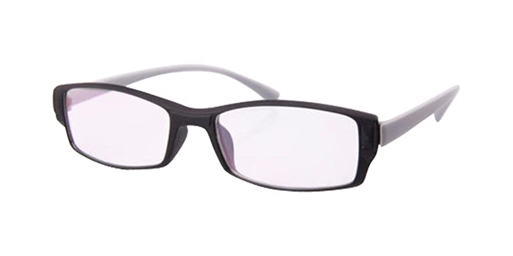 Black Frame Gray Temple Rectangular Small frame Clear Lens Glasses Nerd Geek Eyewear Eyeglass Spectacles