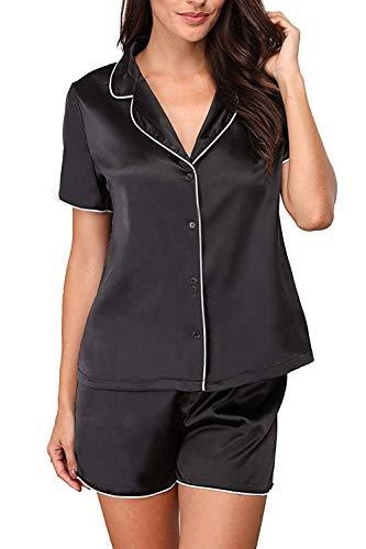 Memory baby Pajamas Womens Short Sleeve Sleepwear Soft Pj Set Black XL