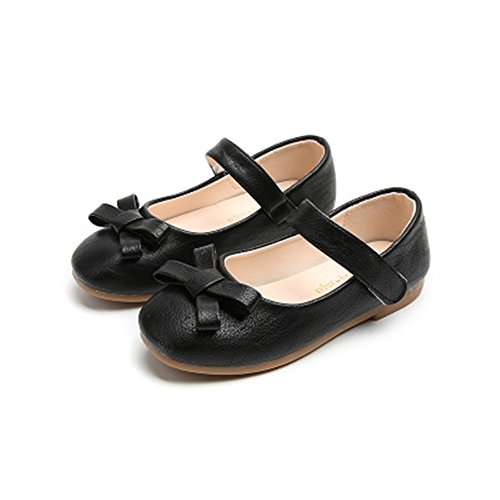 - Smart.A Girls Leather Look Ballet Flat Slip On Solid Color with Grosgrain Bow(Black 29/11.5 M US Little Kid)