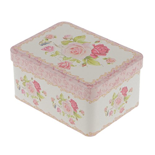 Jili Online Retro Flower Floral Metal Sugar Coffee Tin Jar Container Candy Sealed Cans Gift Box - #3 Square -