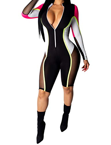 - Bodycon Jumpsuits Zipper Mesh Sexy Clubwear Sheer Slim Long Pants Yoga Long Sleeve Multi Color Athletic Party Deep V Romper Bodysuit Strapless Sport Dressy Jumpsuits for Women Ladies WhiteRose XL