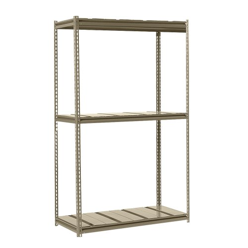 Edsal RMS48243 Steel Mid-Profile Rivet Lock Ultimate Heavy Load Carrying Boltless Shelving with Steel Deck and 3 Levels, 1500 lbs Capacity, 48