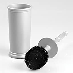 mDesign Toilet Bowl Brush and Wastebasket Trash Can for Bathroom - Set of 2, Gray