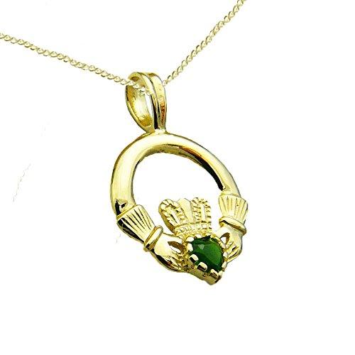 Claddagh en or jaune 9carats Pierre Vert Coffret cadeau, pendentif, boucles d'oreilles et Chaîne-Cadeau Traditionnel Irlandais