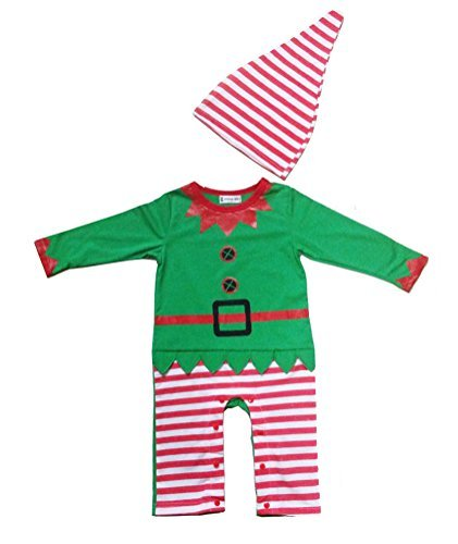 Swaroser Santa's Lil' Elf Costume Unisex-baby Christmas Suits Leotard Santa Hat Jumpsuit Climbing Clothes Rompers Pant Sets Size (Santa Elf Suits)