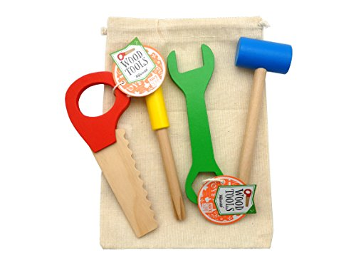 Set of 4 Children's Wooden Tools Saw Hammer Screwdriver Wrench - in Burlap Carry Storage Bag